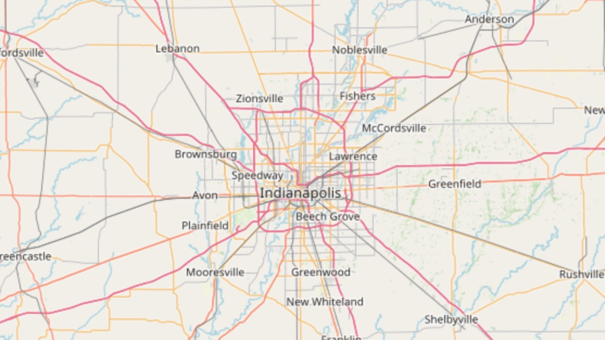 map showing D&B Guttering service area covering Indianapolis and central indiana