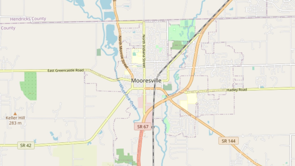 map showing D&B Guttering service area covering Mooresville, Indiana